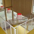 Lichte Eingangshalle mit Treppenhaus der Kooperationseinrichtung in München