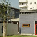 Verbindung Neubau Kinderland Poing 2.BA an die Mehrzweckhalle des Bestandes