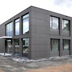 3 Hörsaal- und Bürogebäude in Holz-Hybridbauweise in Aschaffenburg-Plattenfassade