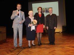 v.l.n.r.: Moderator Michael Sporer, Wilhelma Klein, Staatsministerin Christine Haderthauer, Regierungspräsident Michael Scheufele