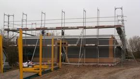 Montage-Flüchtlingsunterkunft in Holz-Hybridbauweise