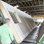Wendetischanlage - Übergabe des Holztafelbauelements