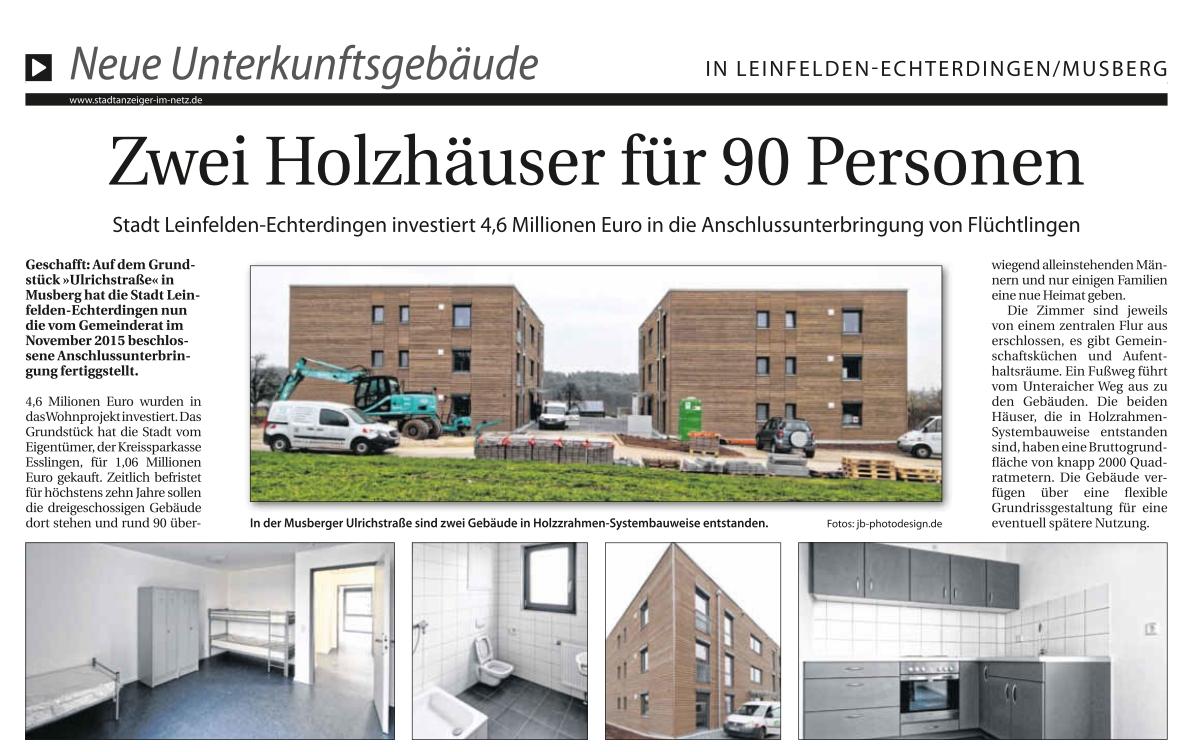 Zwei Holzhäuser für 90 Personen