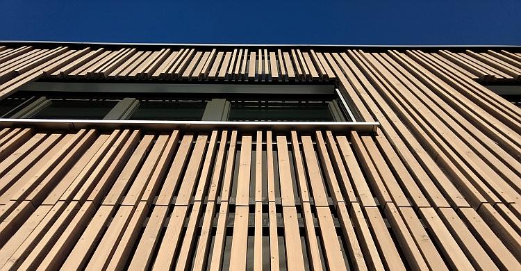 Fassade des Holz-Hybrid-Pavillon